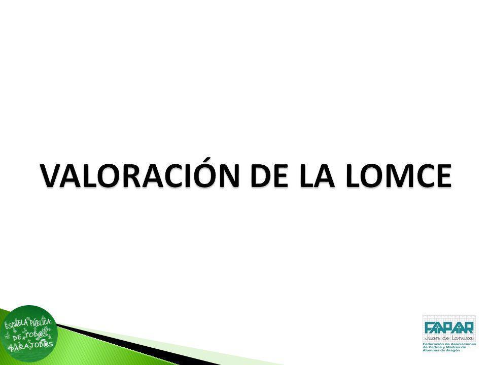 VALORACIÓN DE LA LOMCE