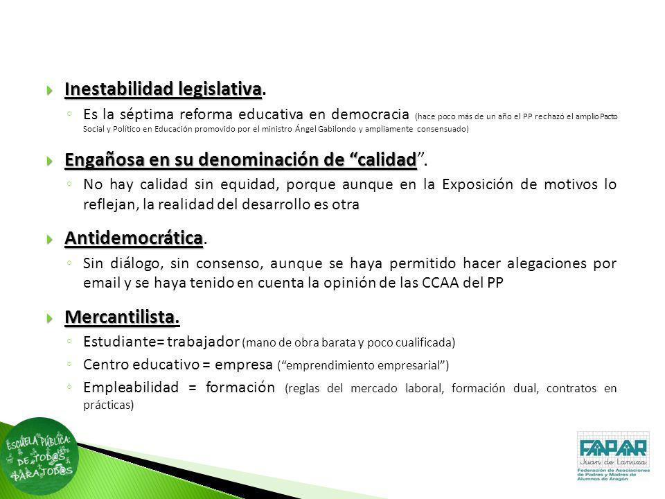 Inestabilidad legislativa.