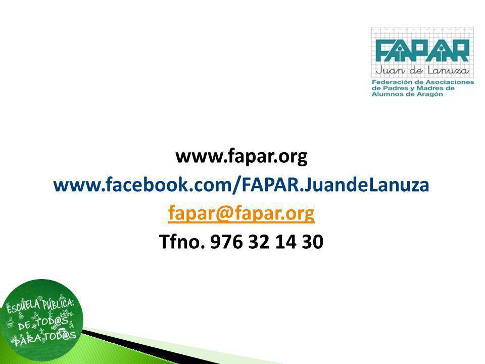 www. fapar. org www. facebook. com/FAPAR. JuandeLanuza fapar@fapar