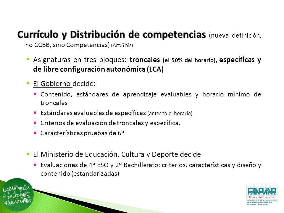 Currículo y Distribución de competencias (nueva definición, no CCBB, sino Competencias) (Art.6 bis)