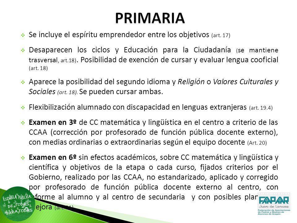PRIMARIASe incluye el espíritu emprendedor entre los objetivos (art. 17)