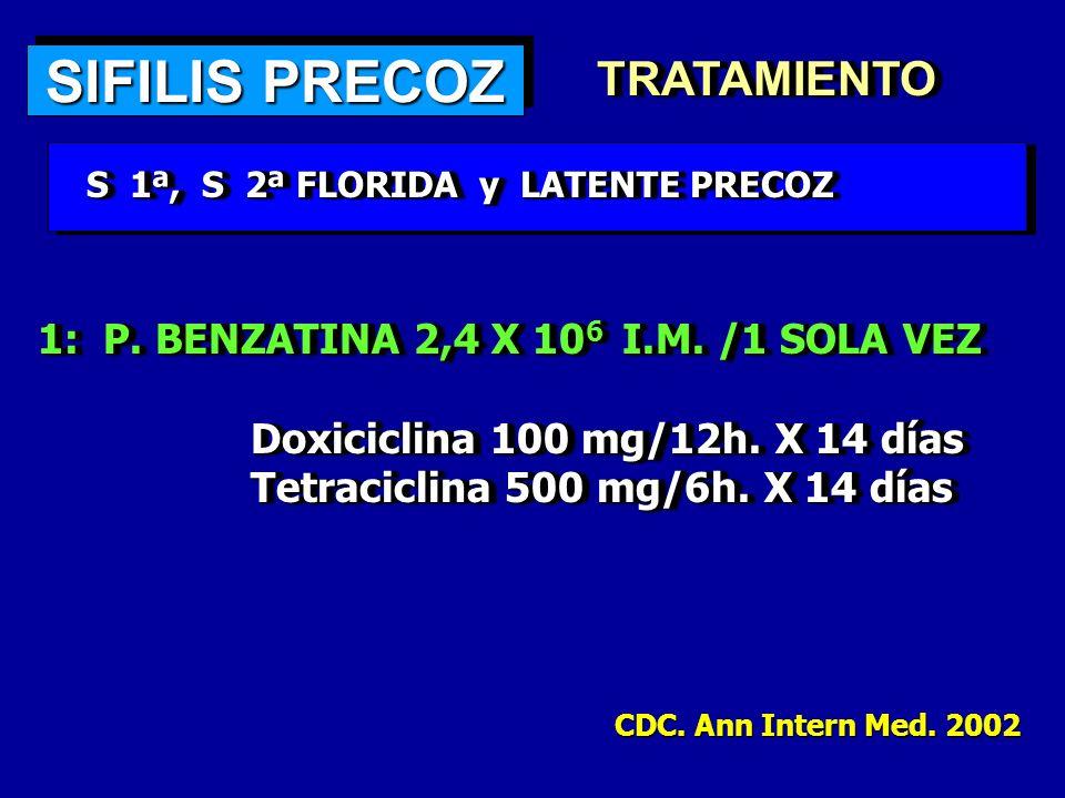 SIFILIS PRECOZ TRATAMIENTO S 1ª, S 2ª FLORIDA y LATENTE PRECOZ