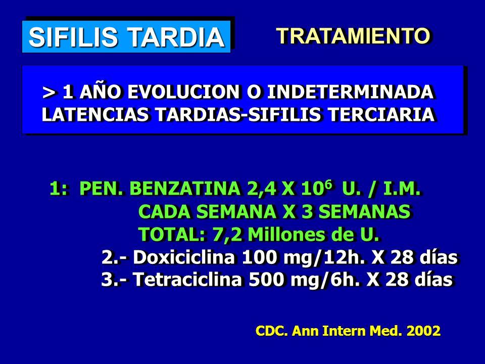 SIFILIS TARDIA TRATAMIENTO 1: PEN. BENZATINA 2,4 X 106 U. / I.M.