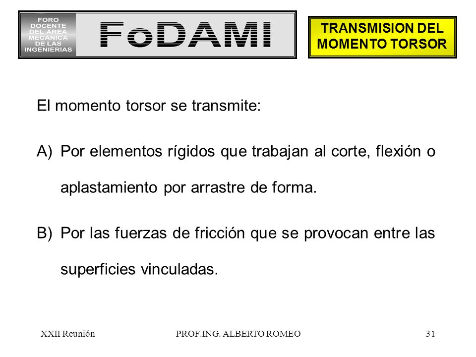 TRANSMISION DEL MOMENTO TORSOR