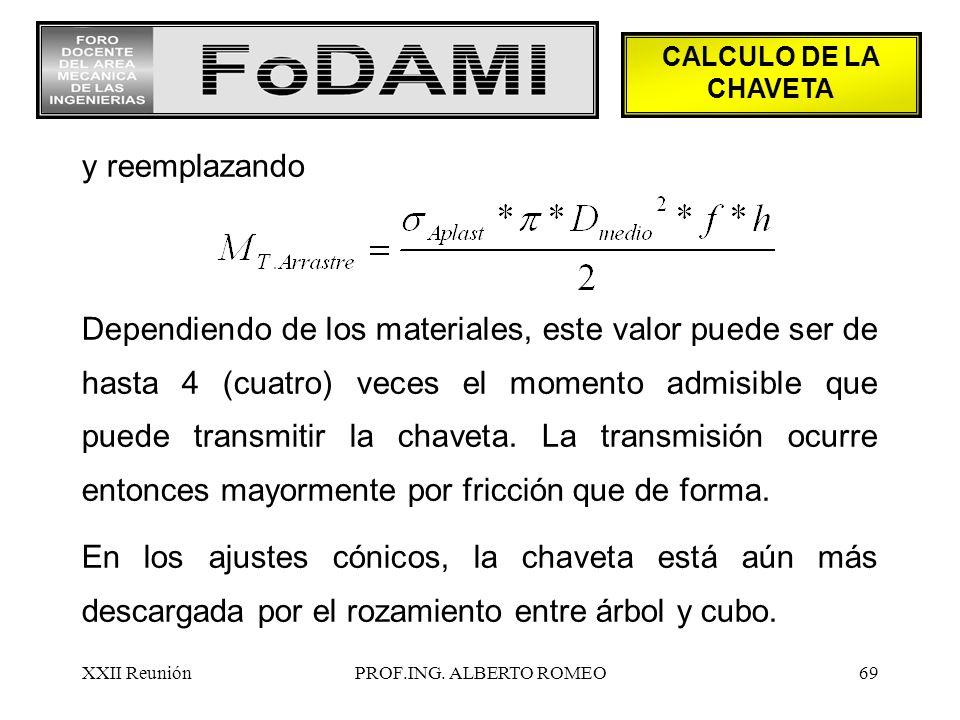 CALCULO DE LA CHAVETA y reemplazando.