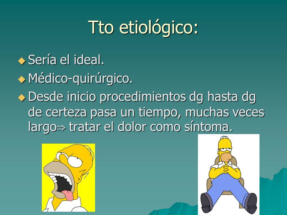 Tto etiológico: Sería el ideal. Médico-quirúrgico.