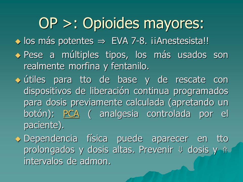 OP >: Opioides mayores: