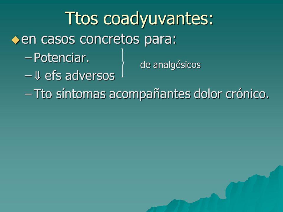 Ttos coadyuvantes: en casos concretos para: Potenciar. ⇓ efs adversos