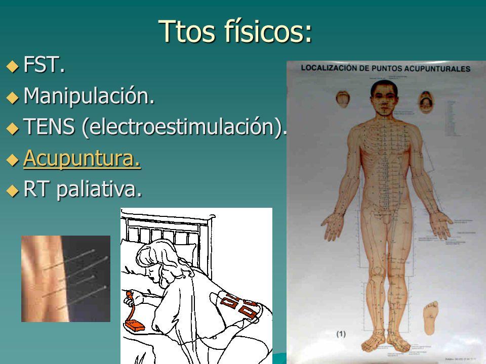 Ttos físicos: FST. Manipulación. TENS (electroestimulación).