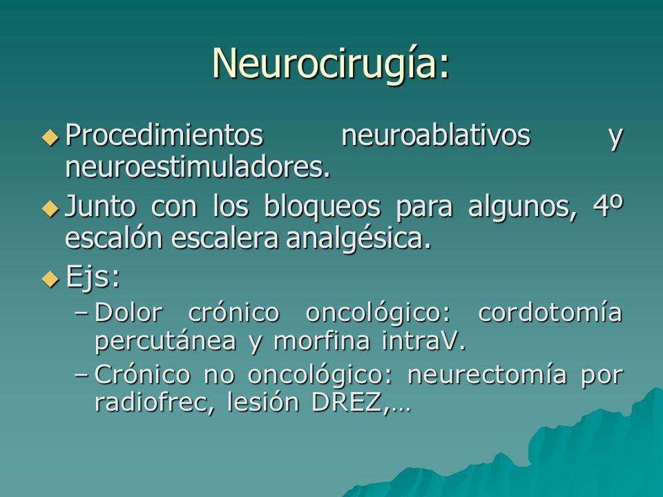 Neurocirugía: Procedimientos neuroablativos y neuroestimuladores.