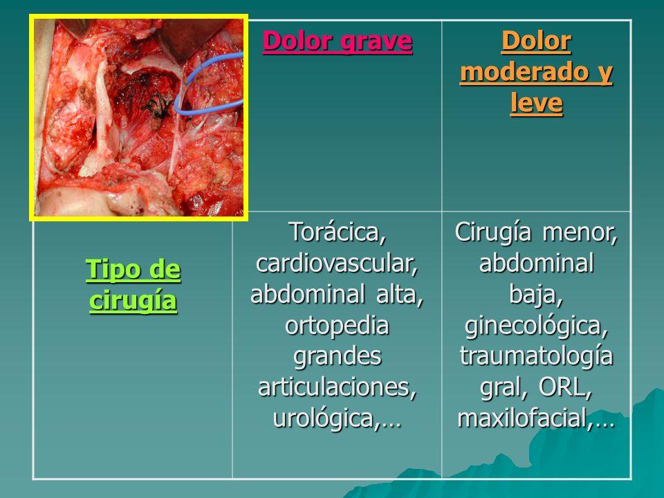 Dolor graveDolor moderado y leve. Tipo de cirugía. Torácica, cardiovascular, abdominal alta, ortopedia grandes articulaciones, urológica,…