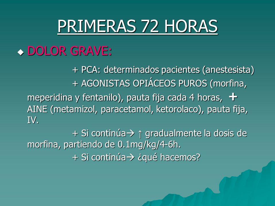 PRIMERAS 72 HORAS DOLOR GRAVE: