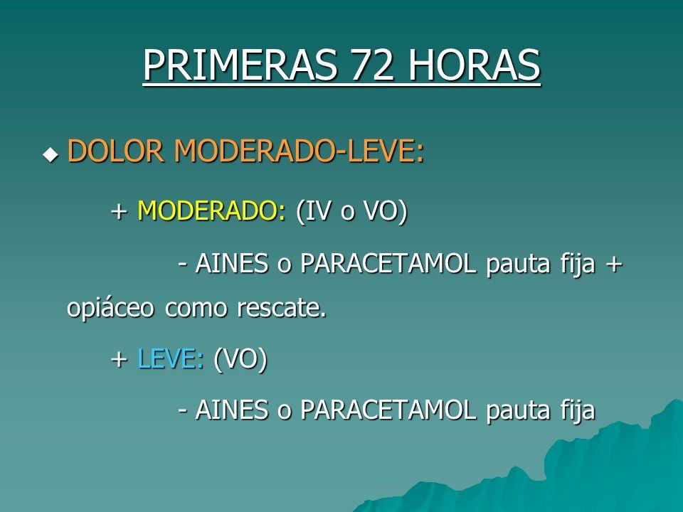 PRIMERAS 72 HORAS DOLOR MODERADO-LEVE: + MODERADO: (IV o VO)