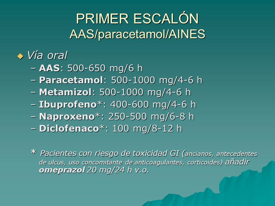 PRIMER ESCALÓN AAS/paracetamol/AINES