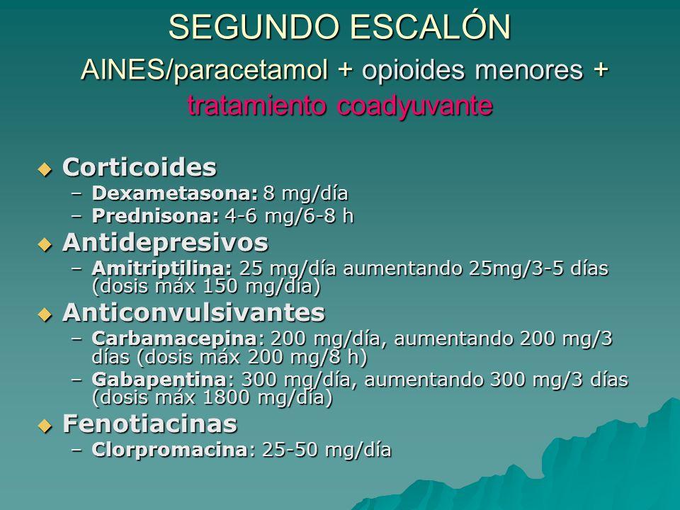 SEGUNDO ESCALÓN AINES/paracetamol + opioides menores + tratamiento coadyuvante