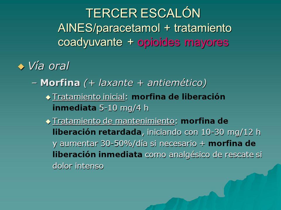 TERCER ESCALÓN AINES/paracetamol + tratamiento coadyuvante + opioides mayores