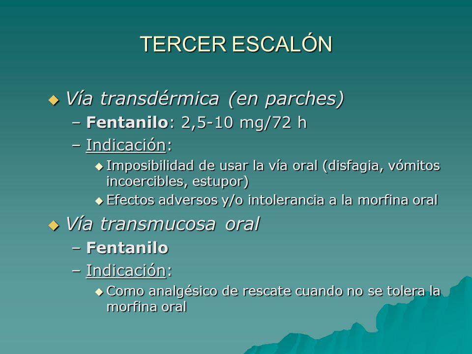 TERCER ESCALÓN Vía transdérmica (en parches) Vía transmucosa oral