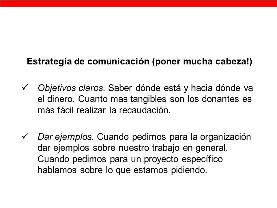 Estrategia de comunicación (poner mucha cabeza!)