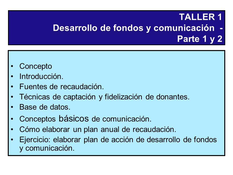 TALLER 1 Desarrollo de fondos y comunicación - Parte 1 y 2