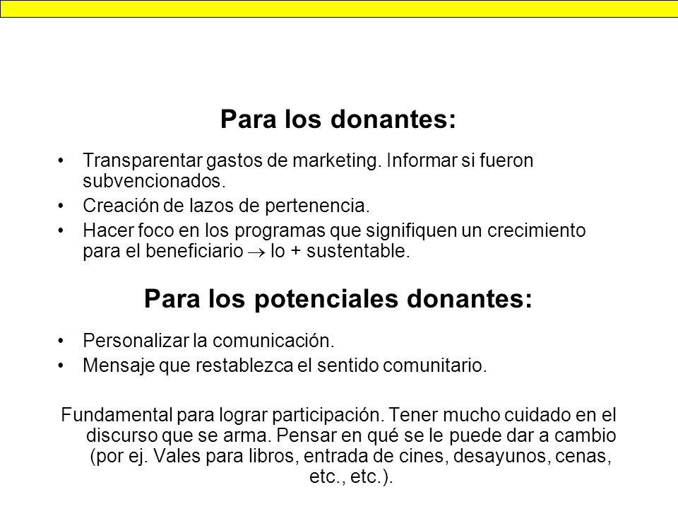 Para los potenciales donantes: