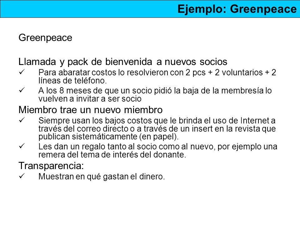 Ejemplo: Greenpeace Greenpeace