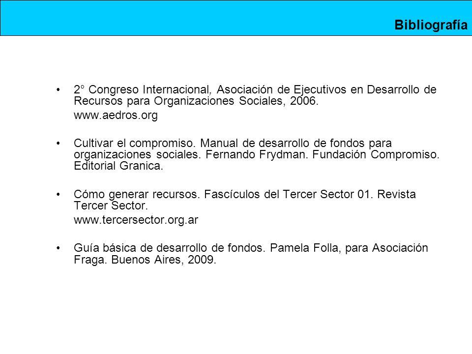 Bibliografía 2° Congreso Internacional, Asociación de Ejecutivos en Desarrollo de Recursos para Organizaciones Sociales, 2006.