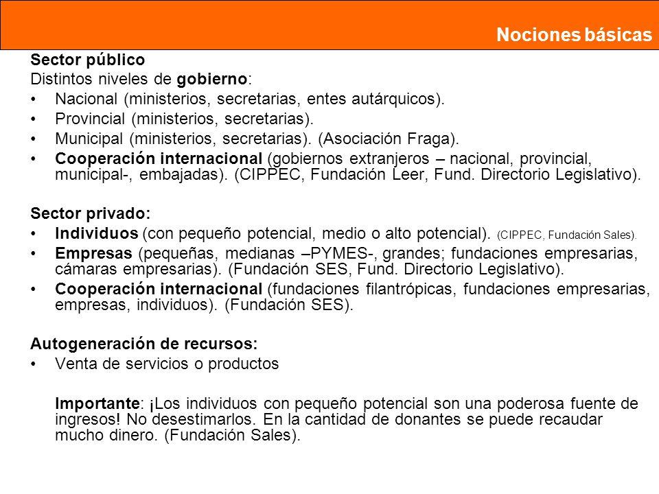 Nociones básicas Sector público Distintos niveles de gobierno: