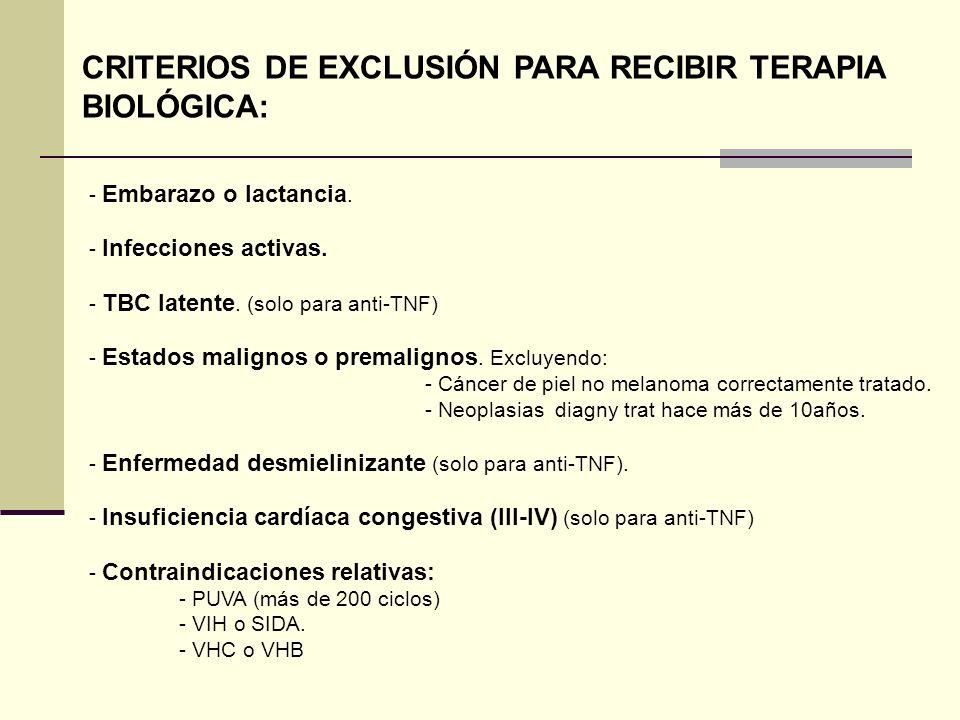 CRITERIOS DE EXCLUSIÓN PARA RECIBIR TERAPIA BIOLÓGICA: