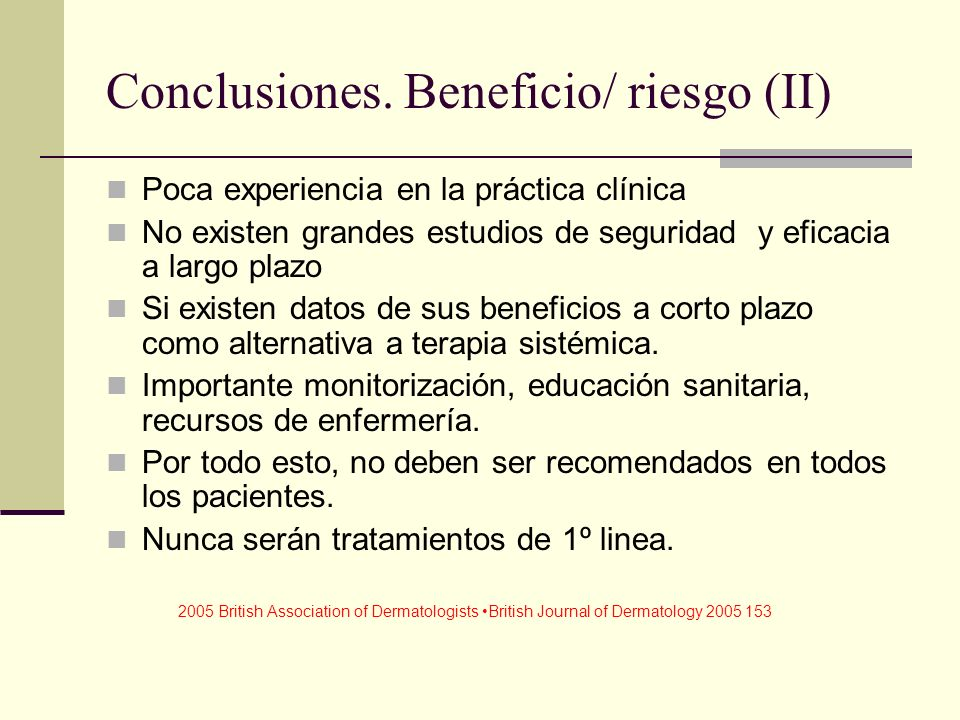 Conclusiones. Beneficio/ riesgo (II)
