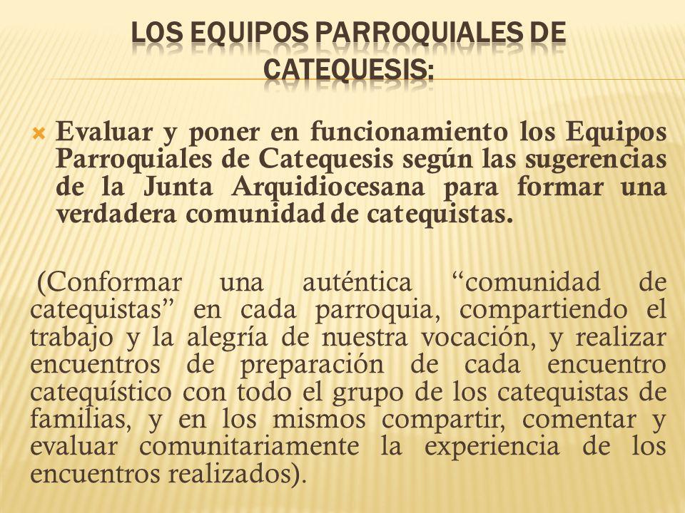 LOS EQUIPOS PARROQUIALES DE CATEQUESIS: