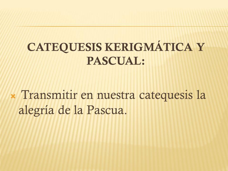 CATEQUESIS KERIGMÁTICA Y PASCUAL: