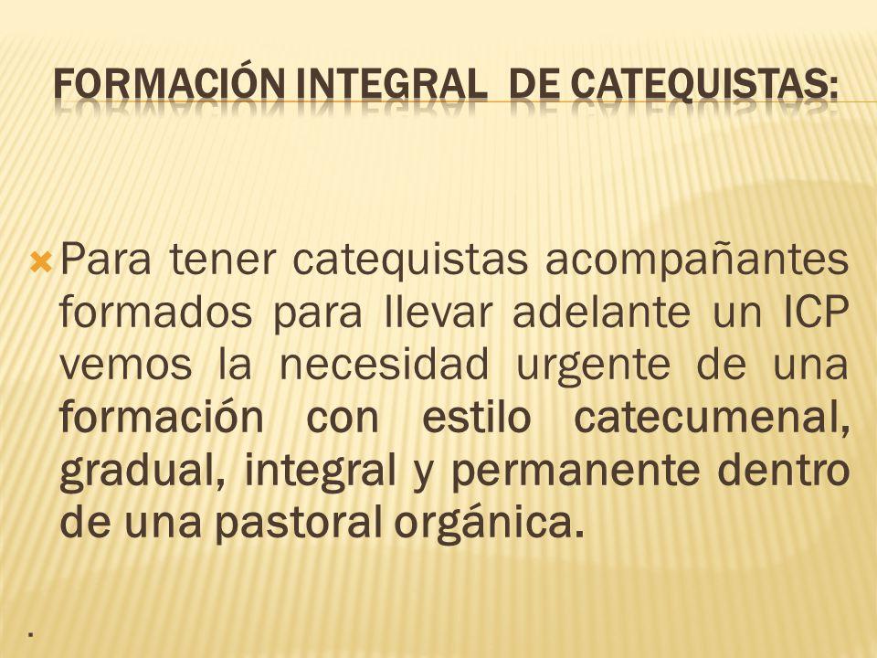 FORMACIÓN INTEGRAL DE CATEQUISTAS: