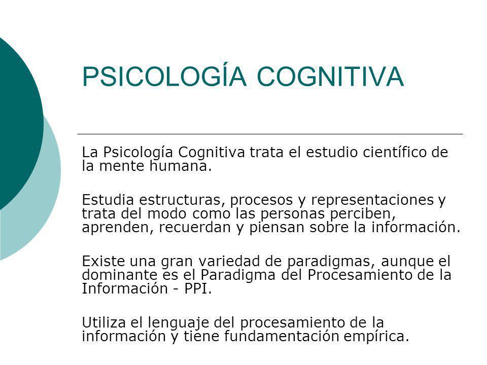 PSICOLOGÍA COGNITIVA La Psicología Cognitiva trata el estudio científico de la mente humana.