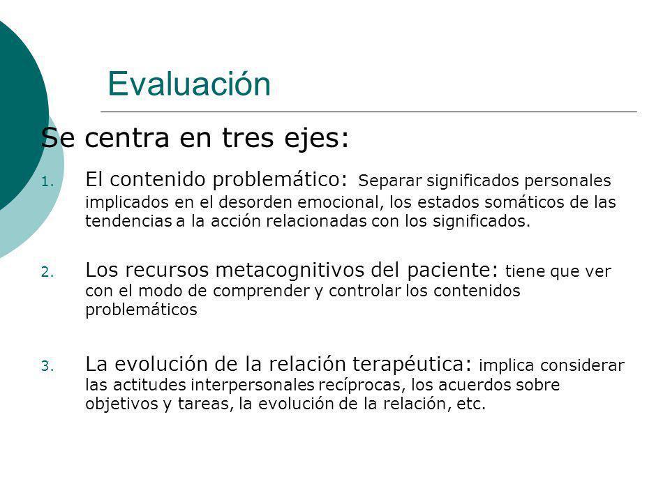 Evaluación Se centra en tres ejes: