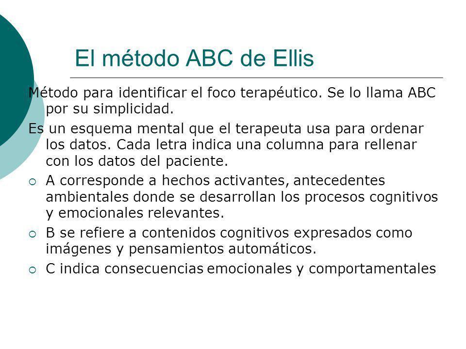 El método ABC de Ellis Método para identificar el foco terapéutico. Se lo llama ABC por su simplicidad.