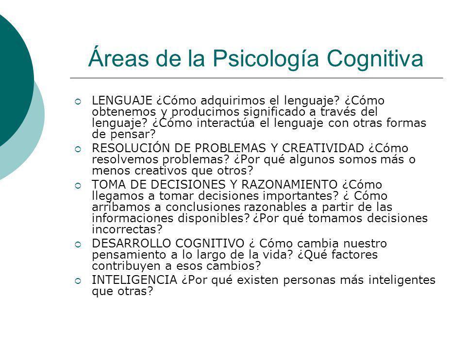 Áreas de la Psicología Cognitiva