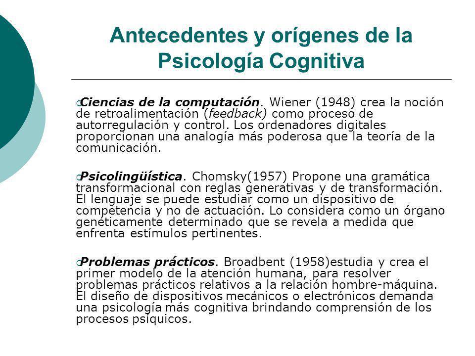 Antecedentes y orígenes de la Psicología Cognitiva