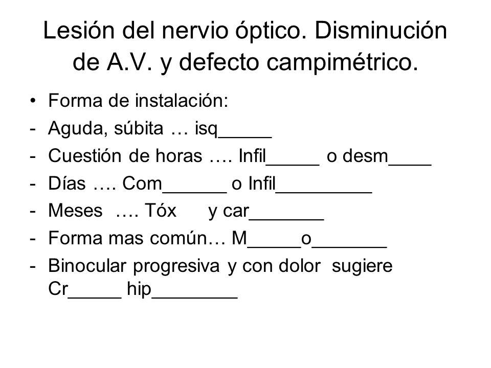 Lesión del nervio óptico. Disminución de A.V. y defecto campimétrico.