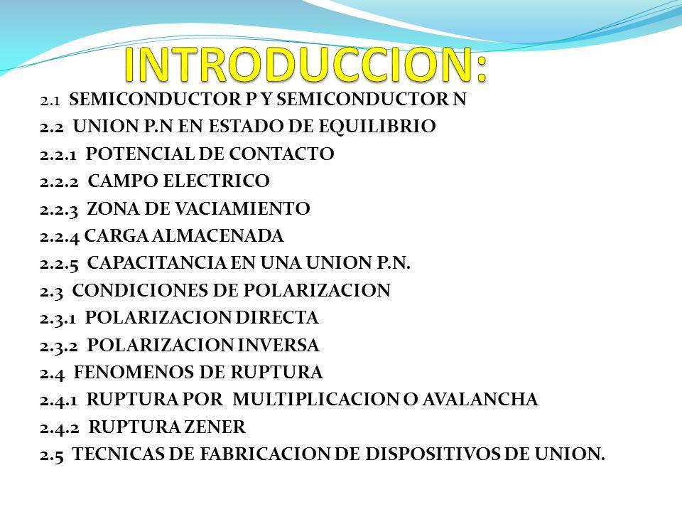 INTRODUCCION: 2.1 SEMICONDUCTOR P Y SEMICONDUCTOR N