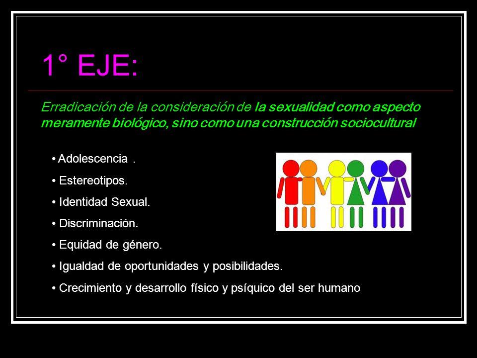1° EJE: Erradicación de la consideración de la sexualidad como aspecto meramente biológico, sino como una construcción sociocultural.