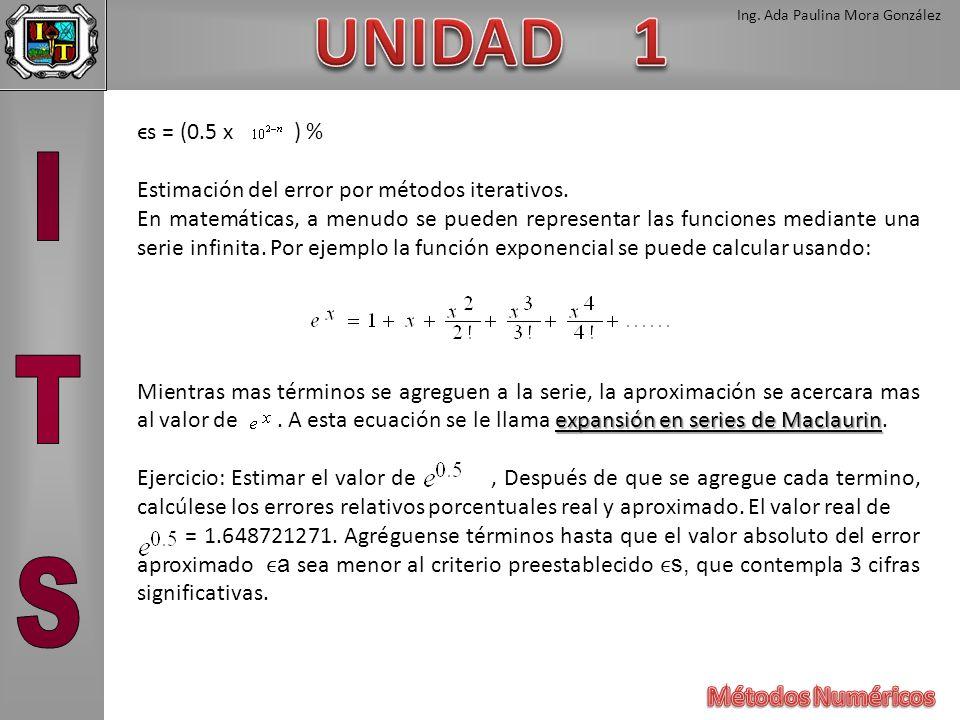 ϵs = (0.5 x ) % Estimación del error por métodos iterativos.
