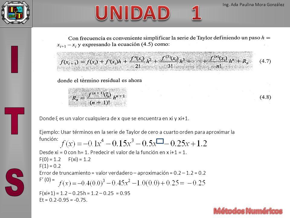 Donde ξ es un valor cualquiera de x que se encuentra en xi y xi+1.