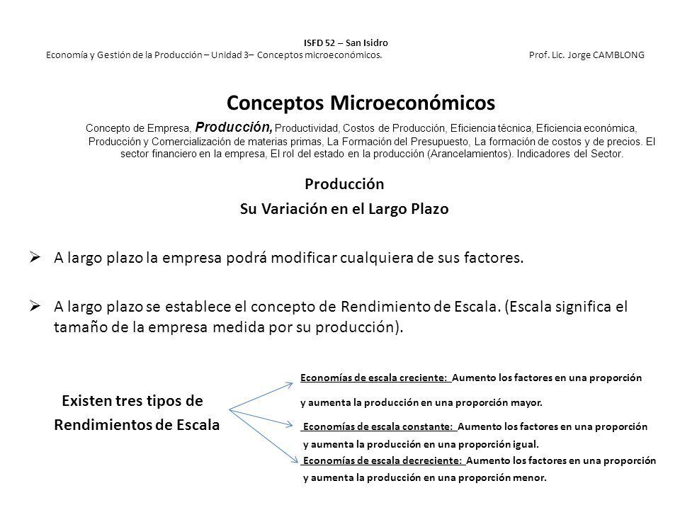 Conceptos Microeconómicos Su Variación en el Largo Plazo
