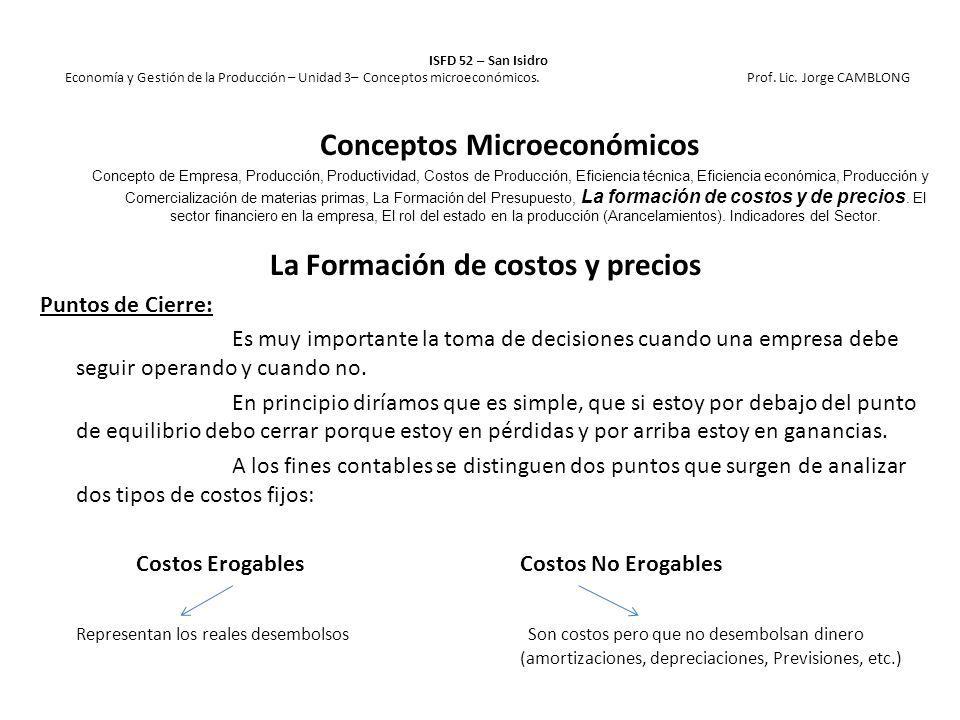 Conceptos Microeconómicos La Formación de costos y precios