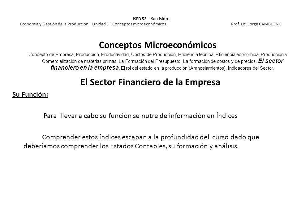 Conceptos Microeconómicos El Sector Financiero de la Empresa