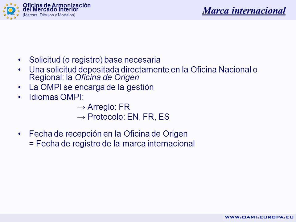Marca internacional Solicitud (o registro) base necesaria