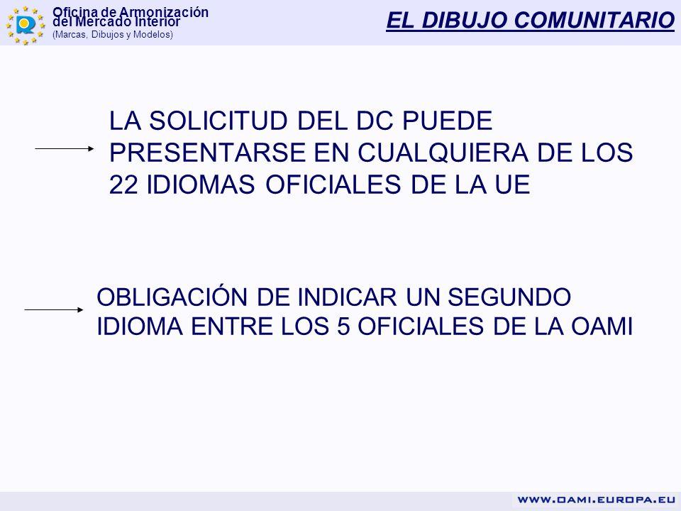 EL DIBUJO COMUNITARIOLA SOLICITUD DEL DC PUEDE PRESENTARSE EN CUALQUIERA DE LOS 22 IDIOMAS OFICIALES DE LA UE.