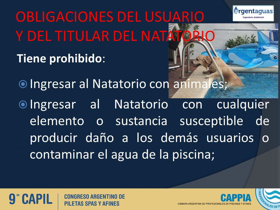 OBLIGACIONES DEL USUARIO Y DEL TITULAR DEL NATATORIO
