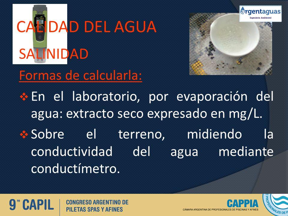 CALIDAD DEL AGUA salinidad Formas de calcularla: