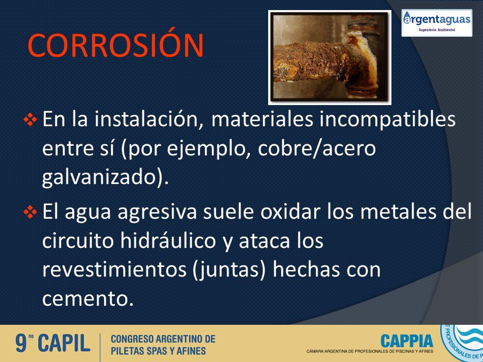 Corrosión En la instalación, materiales incompatibles entre sí (por ejemplo, cobre/acero galvanizado).